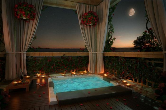 romantisch wohnen dekorieren badezimmer badewanne blumenblätter kerzen