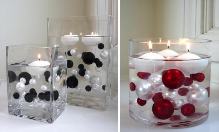 romantisch wohnen diy tischdeko glasschalen glänzende kugeln