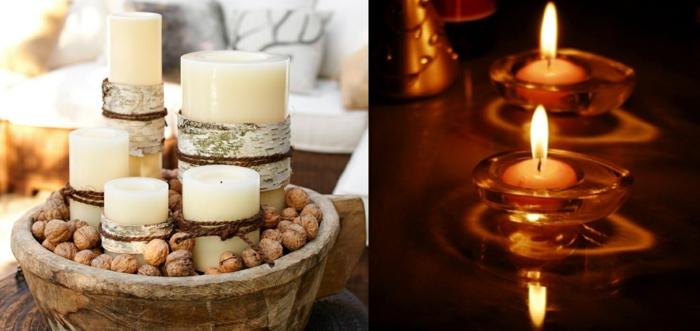 romantisch wohnen diy tischdekoration walnüsse weiße stumpenkerzen