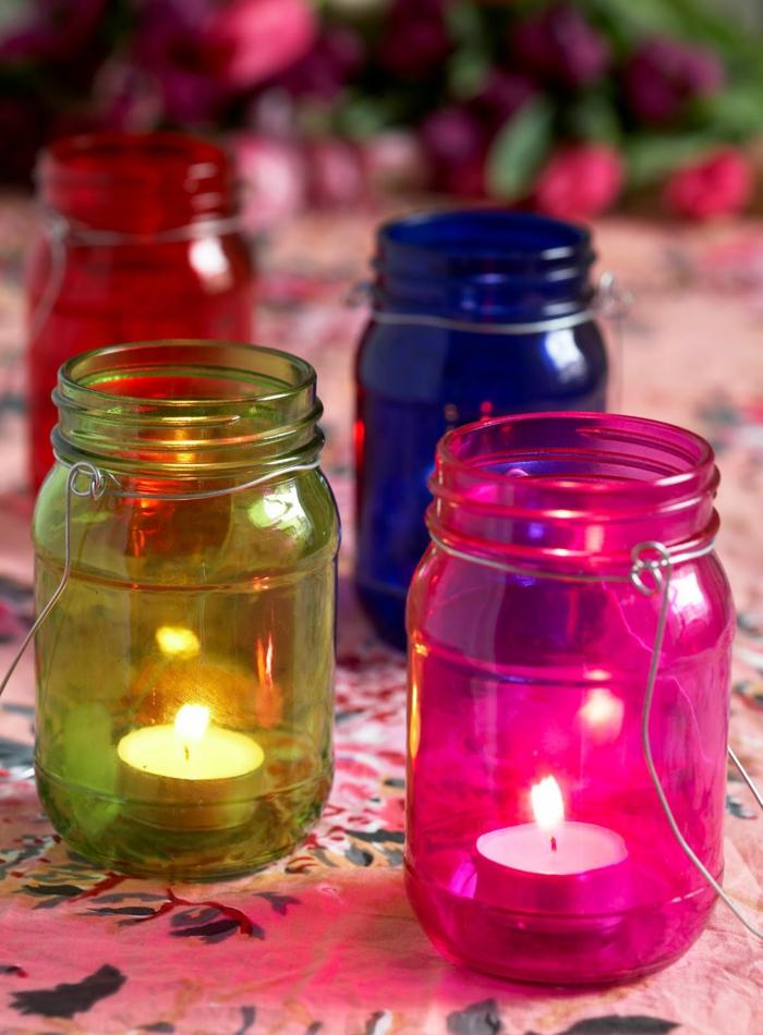 romantisch wohnen diy windlicht ideen bunte gläser