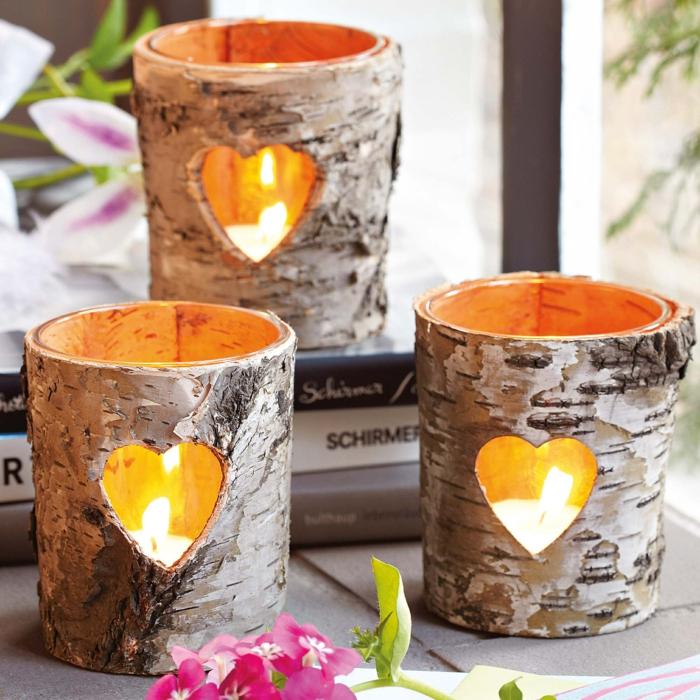 romantisch wohnen diy windlichter birkenrinde teelichter