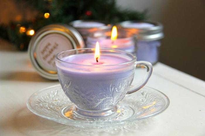 romantisch wohnen diy windlichter kerzenwax vintage kaffeetassen