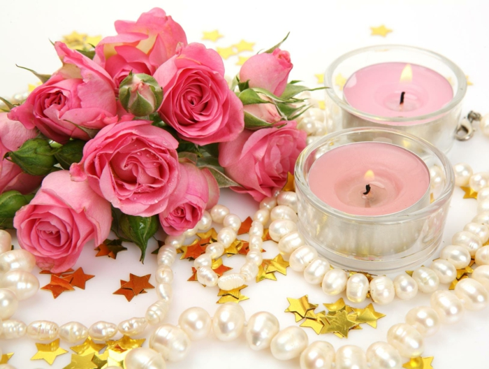 romantisch wohnen silvester dekoration festlich rosen perlen sterne