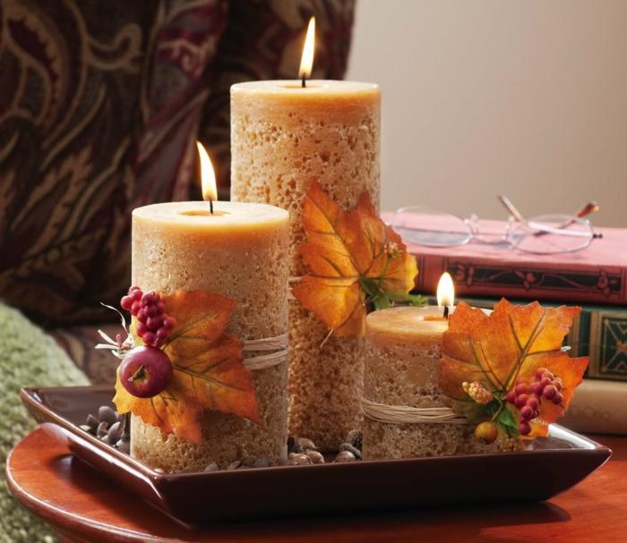 romantisch wohnen stumpenkerzen herbstdeko