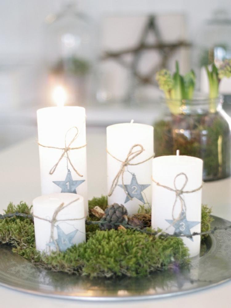 schöne Weihnachtsdeko basteln einfache moderne Adventskränze