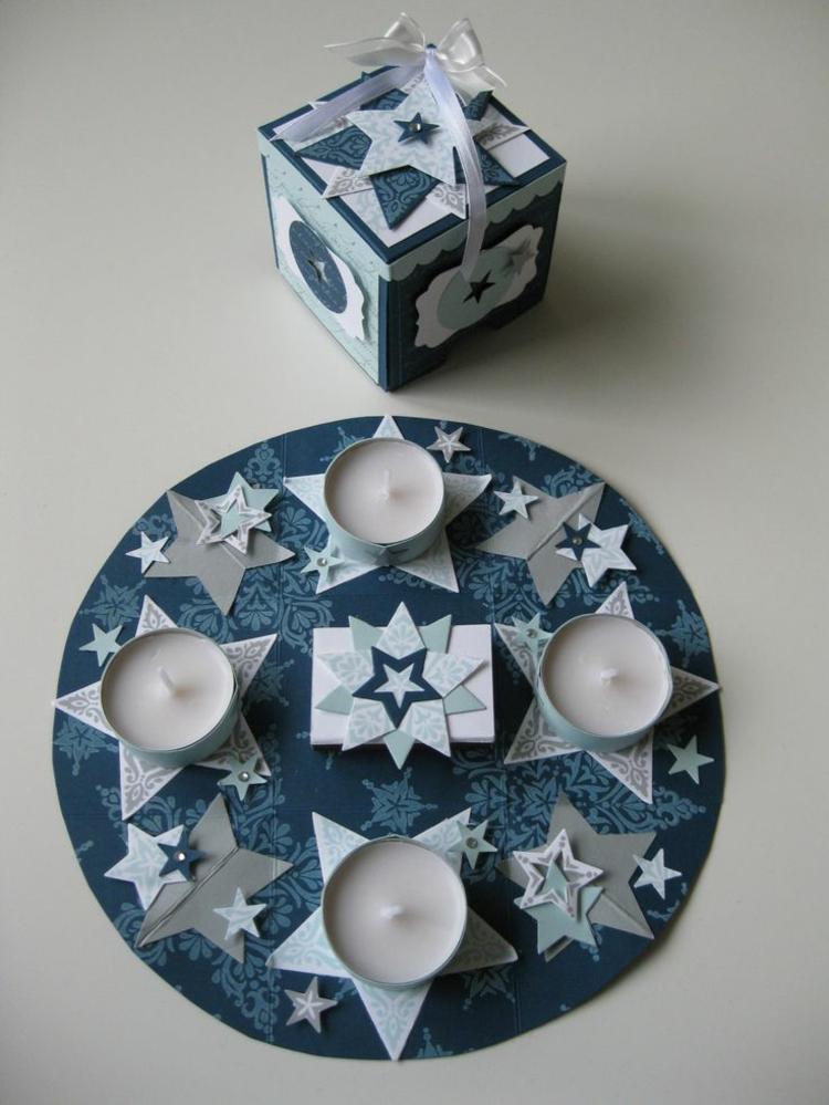 schöne Weihnachtsdeko selber machen Adventskranz aus Papier