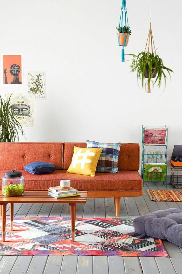 schöne sofas Mid century Modern sofa orange farbiger teppich