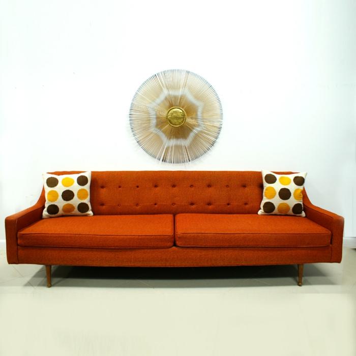 schöne sofas oranges sofa dekokissen wanddeko