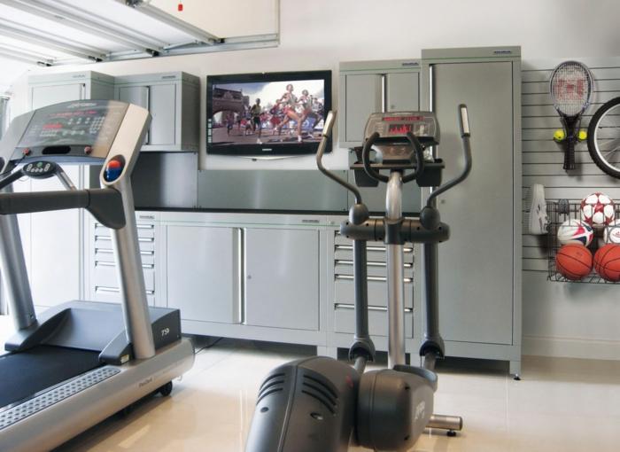 schöne wohnideen garage fitnessraum sport treiben