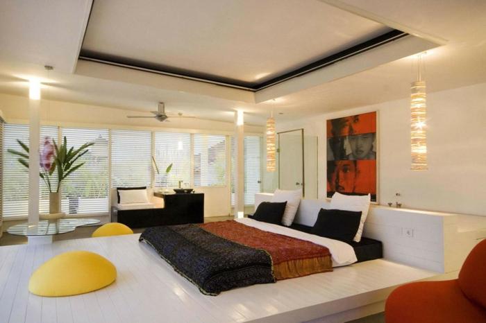 schlafzimmer einrichten abgehängte decke akzente helles interieur