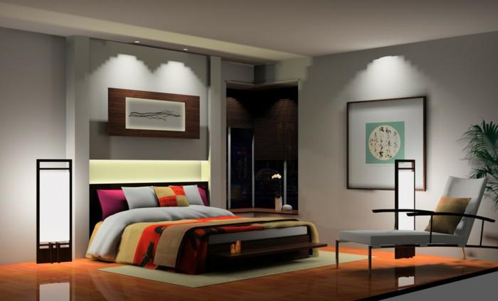 schlafzimmer einrichten liegesessel pflanze schicke bettwäsche wandleuchte