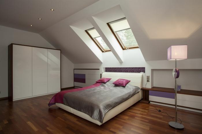 schlafzimmer einrichten schicke schlafzimmermöbel dachschräge einbauleuchten schöne bettwäsche