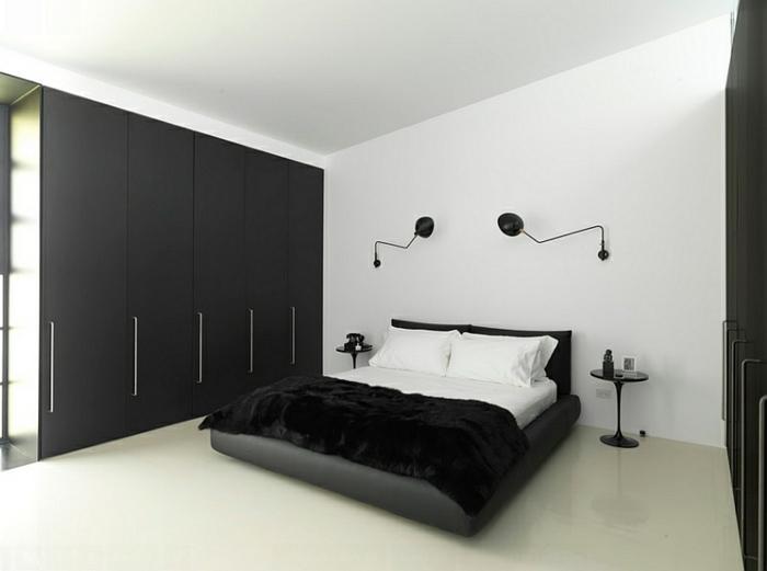 schlafzimmer-einrichten-schwarzer-kleiderschrank-wandleuchten-weiße-wände