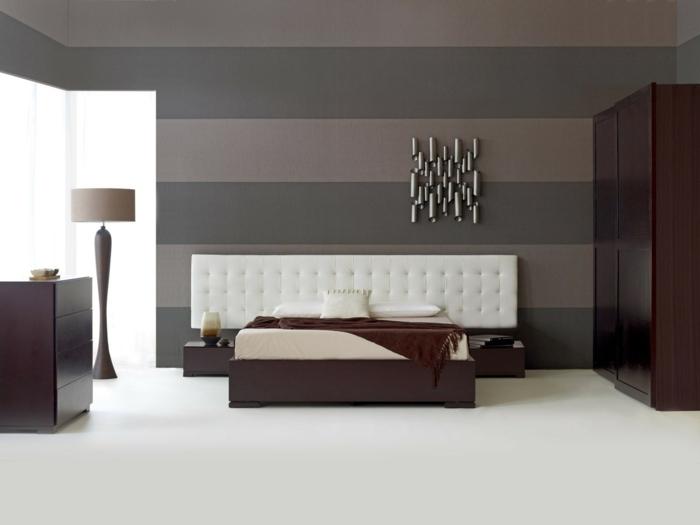schlafzimmer einrichten streifen wandgestaltung wanddeko schönes bettkopfteil
