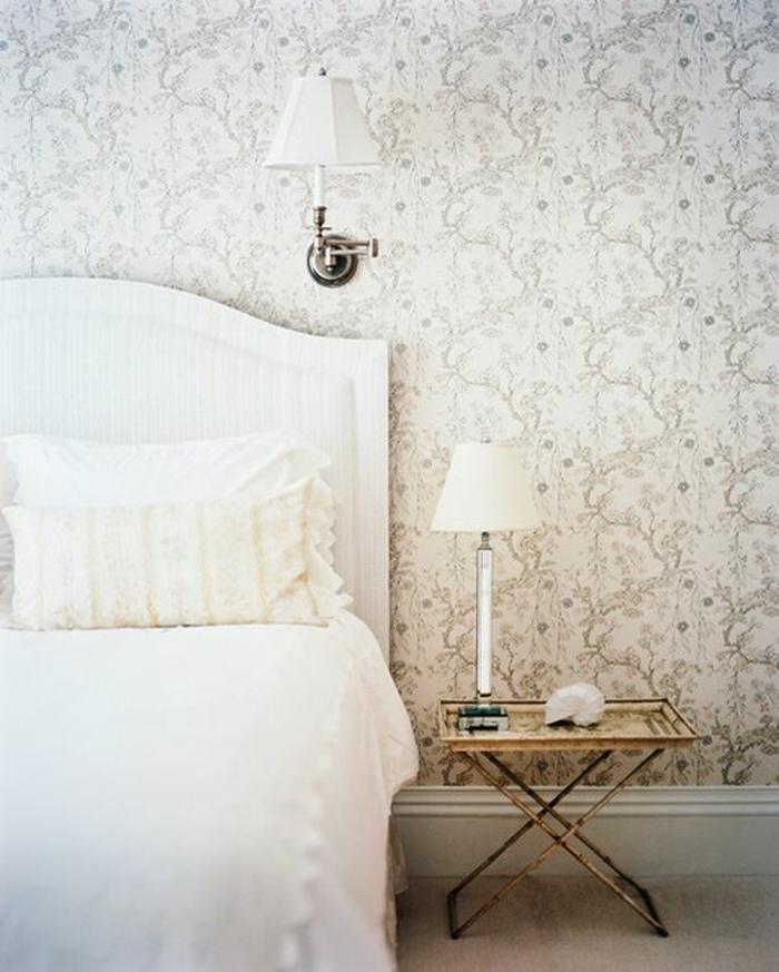 schlafzimmer kommode shabby chic möbel bett wandlampen