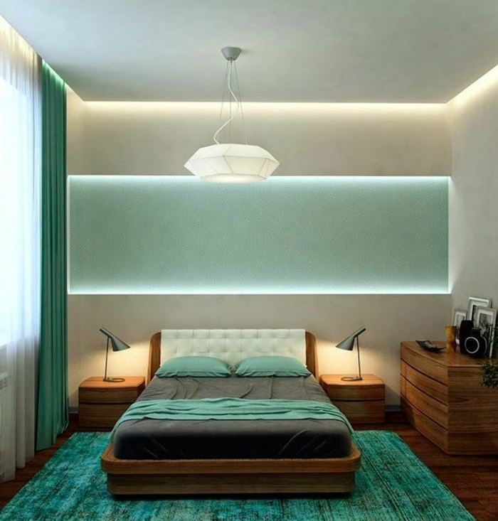 schlafzimmergestaltun grüne nuancen geometrisches design pendellampe