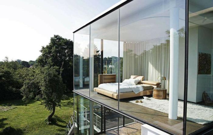 schlafzimmergestaltung leder gepolstert bettgestell panorama fenster moderne architektur
