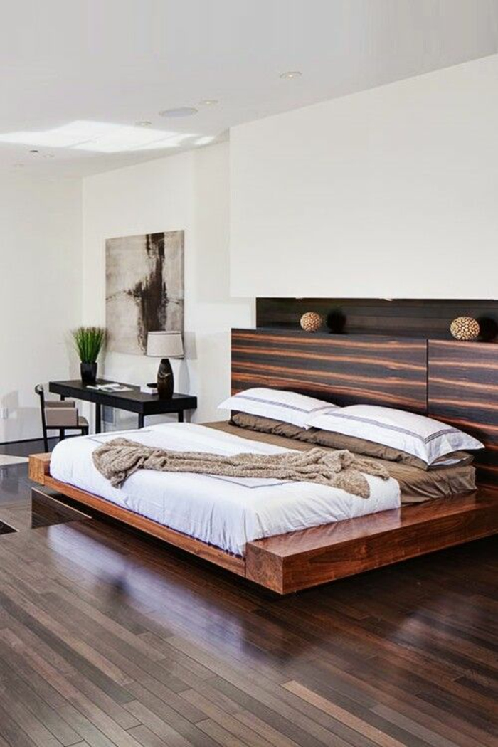 schlafzimmergestaltun massivholzbett king size doppelbett holzmaserung