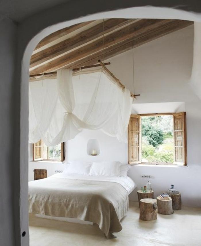 schlafzimmergestaltung puristisch rustikal baumstumpfe nachtkonsole hocker