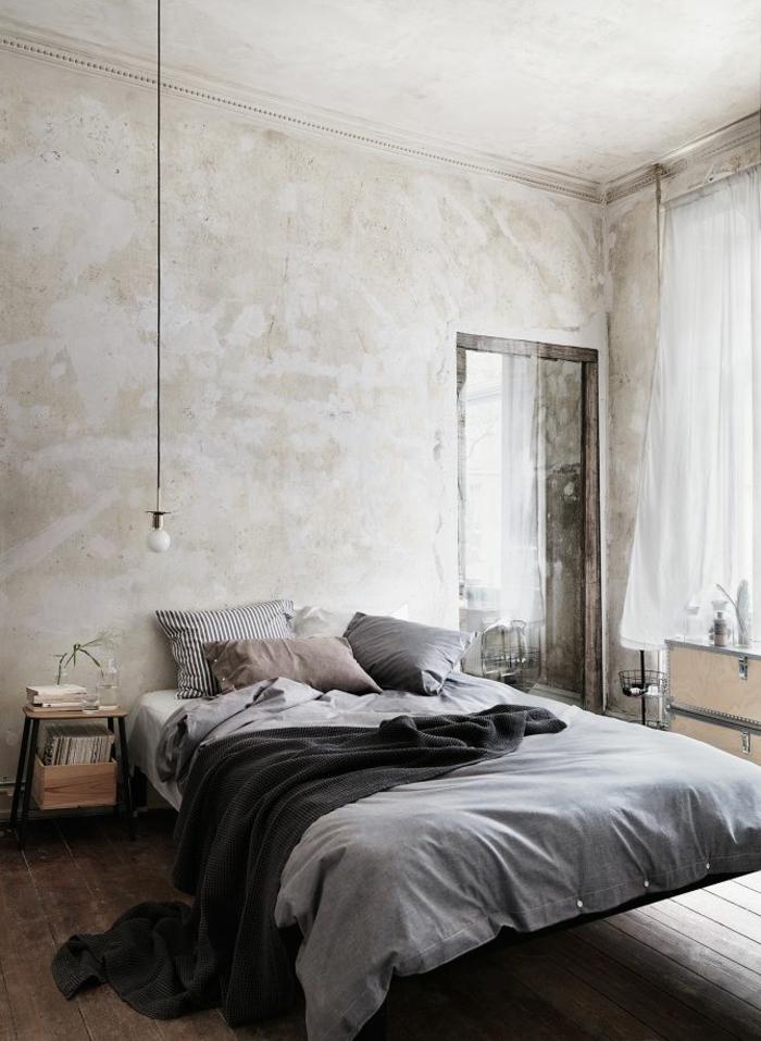 schlafzimmergestaltung shabby chic stil graue nuancen maskulin