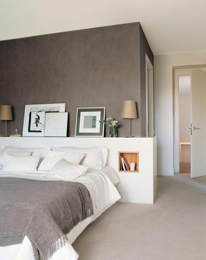 schlafzimmergestaltung doppelbett eingebautes fach stauraum nachtkonsole