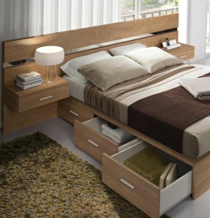 schlafzimmergestaltung holzbett fächer stauraum naturfarben materialien