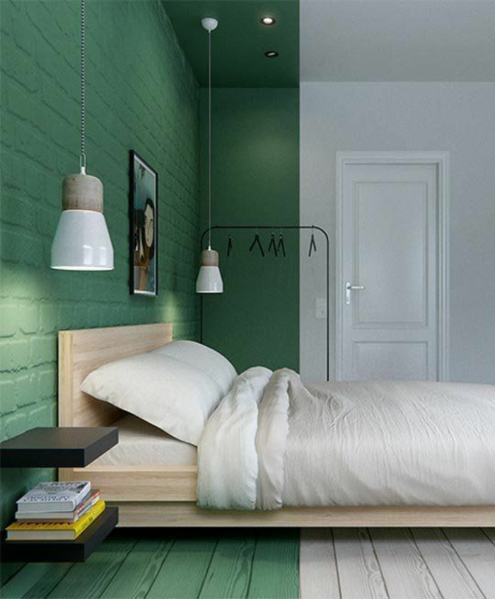 schlafzimmergestaltung puristisch grün weiß wandfarbe holz bettgestell