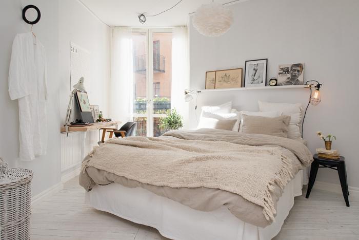 schlafzimmergestaltung tagesdecke wolle beige weiße wandfarbe