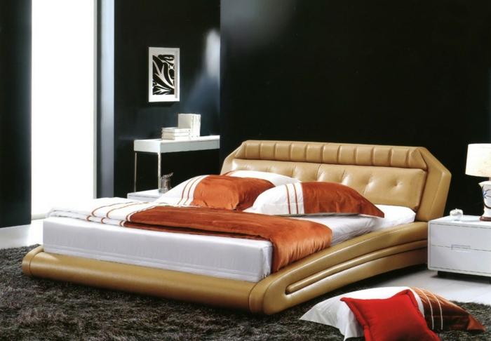 schwarze wandfarbe schlafzimmer farbiges bett dunkler teppich weiße akzente