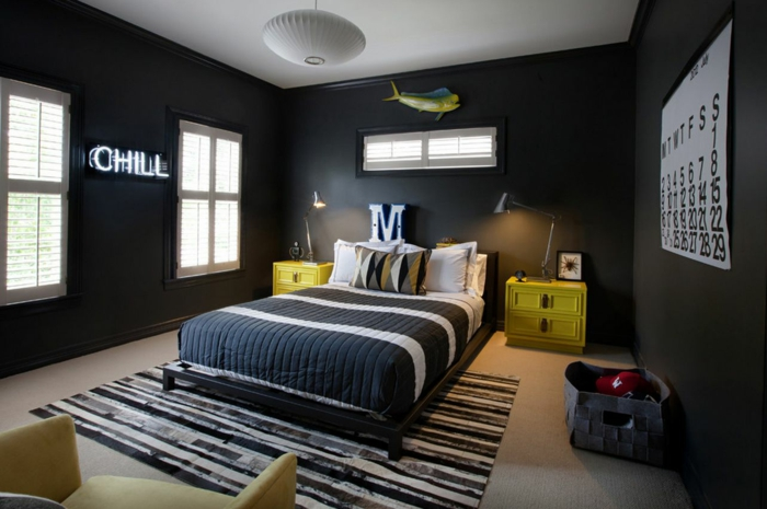 schwarze wandfarbe schlafzimmer jungnzimmer schöne muster