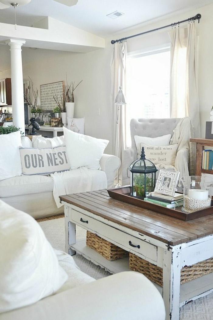 shabby chic möbel couchtich holz rustikal einrichtung wohnzimmer