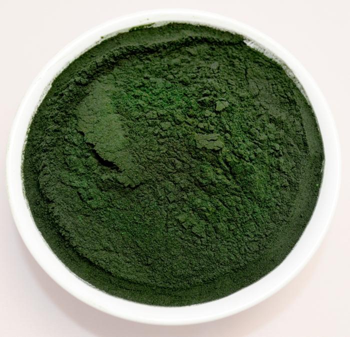spirulina algen gesundes grünes pulver