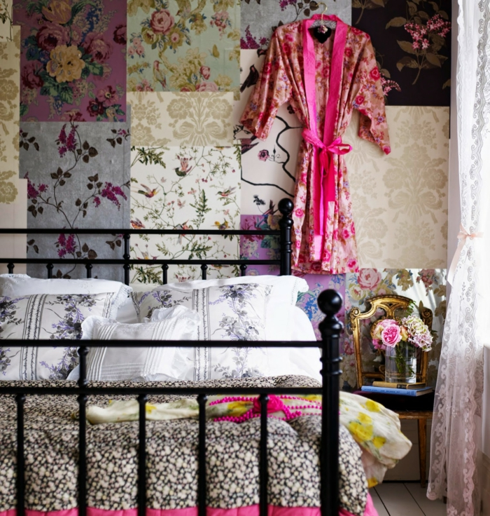 tapete vintage cooles tapetenmuster schlafzimmer gestalten
