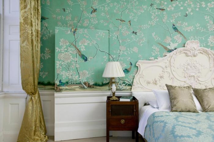 tapete vintage grün wald gardinen golden schlafzimmer gestalten