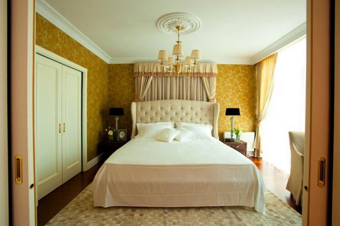 tapete vintage schlafzimmer gelbes muster teppich