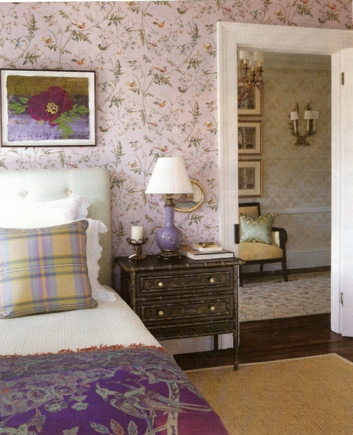 50 vintage tapete ideen die dem raum einen - Wandtapeten lila ...