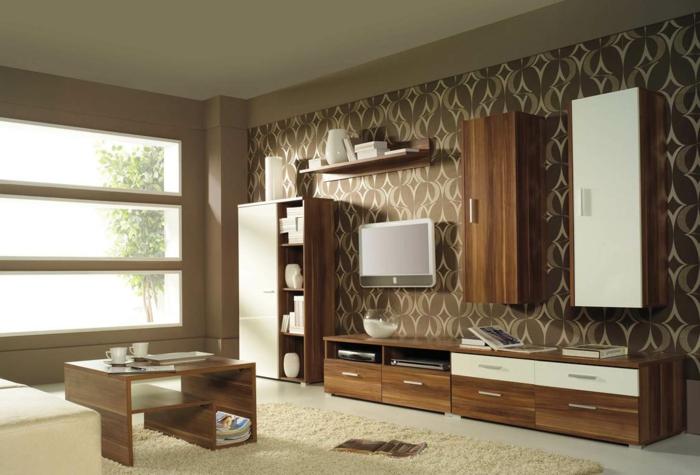 tapete vintage wohnzimmer wohnwand teppich
