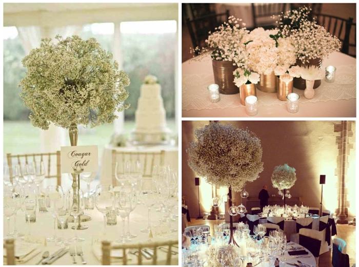 tischdekoration hochzeit blumendeko zart weiße blüten blechdosen vasen