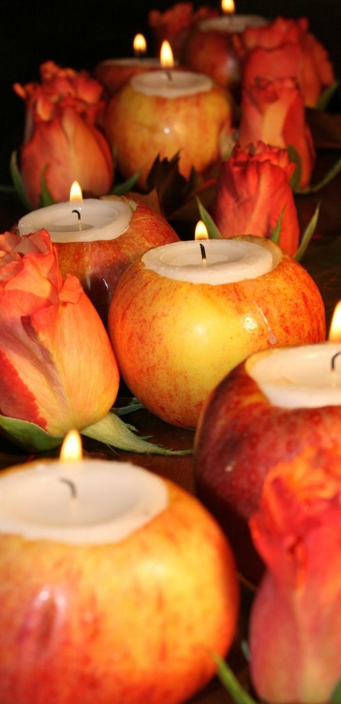 tischdekoration hochzeit herbstdeko windlichter äpfel rosen