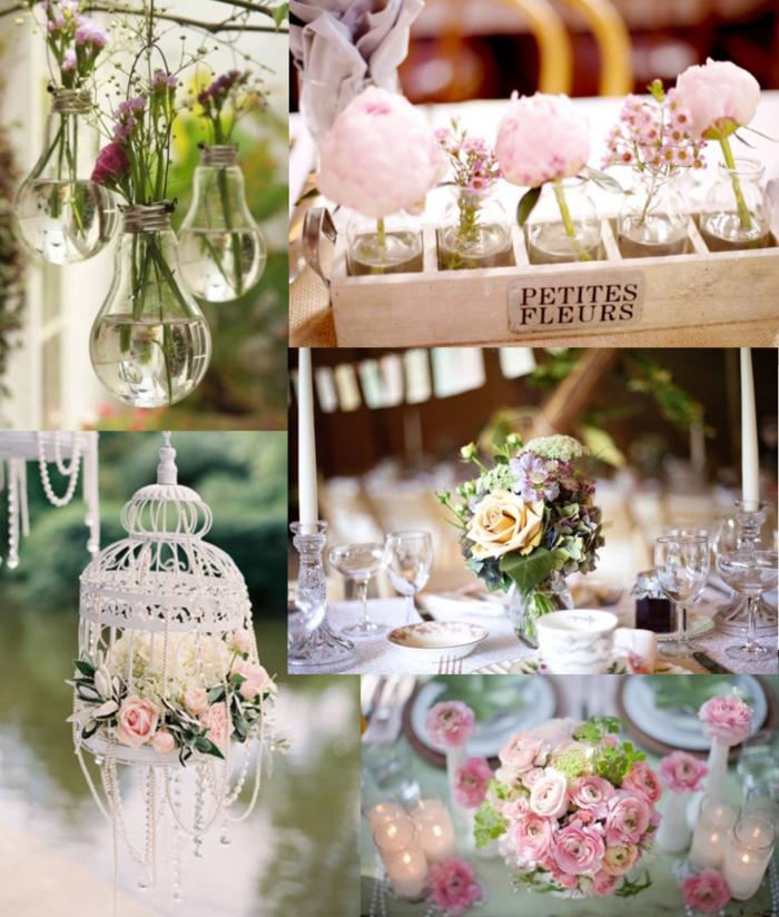 tischdekoration hochzeit originelle diy deko volgelkäfige glübirnen vasen