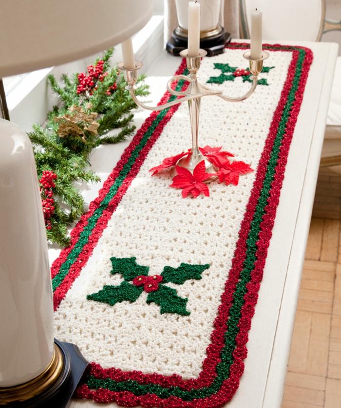 tischläufer weihnachten frohes fest gestrickt