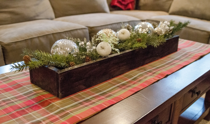 tischläufer weihnachten karriert tischdeko