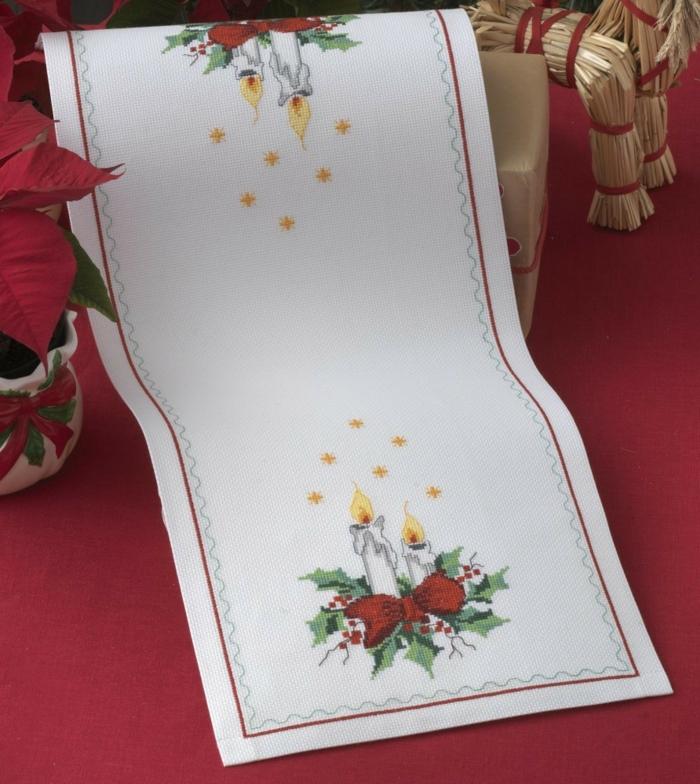 tischläufer weihnachten kerze dezent