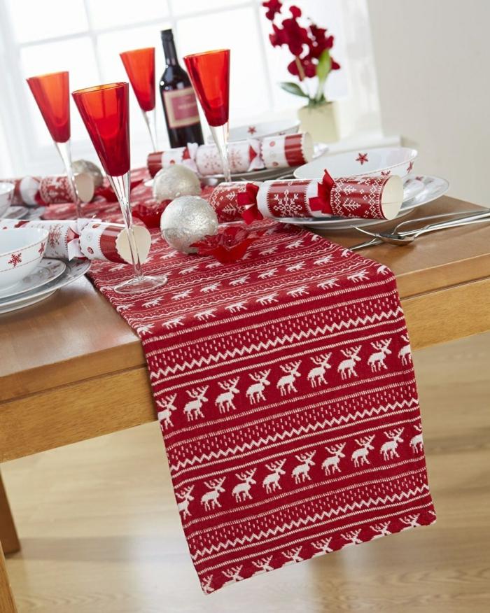 tischläufer weihnachten rot nordisch elsche skandinavisch