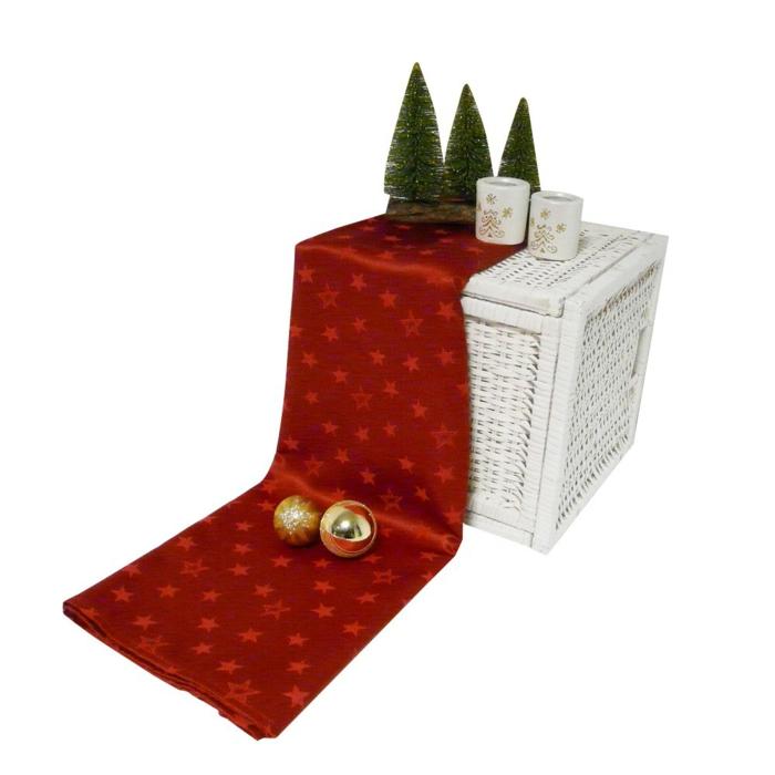 tischläufer weihnachten weihnachtsstern gold und rot