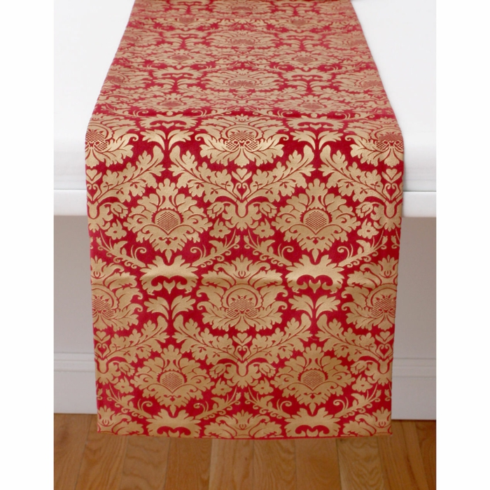 tischläufer weihnachten weihnachtsstern ornamentiert edel rot gold
