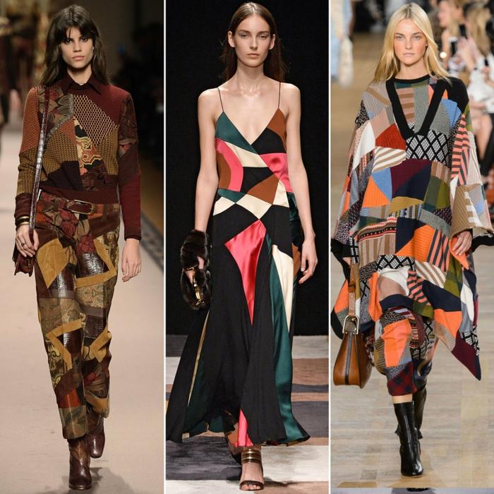 vintage kleider herbst winter tendenzen 2015 patchwork muster