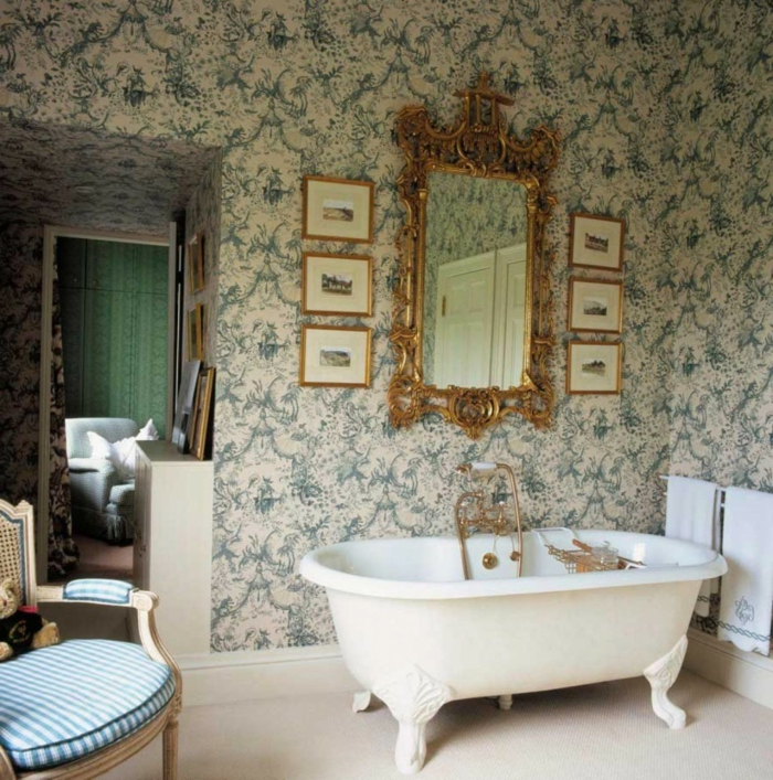 50 vintage tapete ideen die dem raum einen. Black Bedroom Furniture Sets. Home Design Ideas