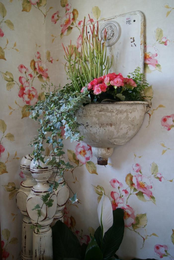 vintage tapete blumenmuster schöne wohnideen
