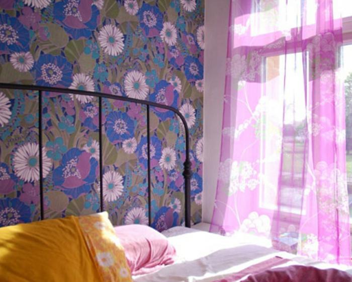 vintage tapete frisches muster schlafzimmer gestalten